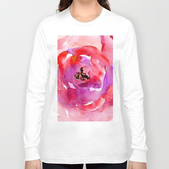 red pink flower Long Sleeve T-shirt