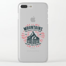 Mountains stamp print design Clear iPhone Case