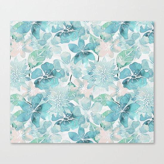 Blue green watercolor flower pattern Canvas Print