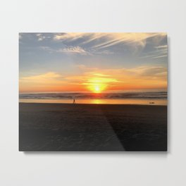 WALKING ON THE BEACH AT SUNSET Metal Print