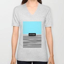 Design Blue Stripes Attitude Unisex V-Neck