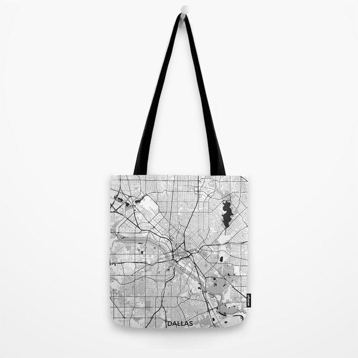 Dallas Map Gray Tote Bag