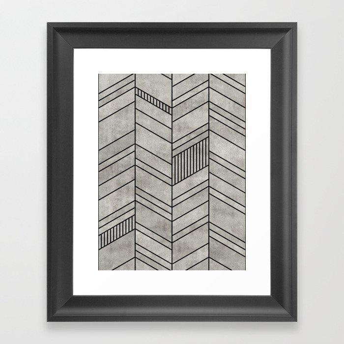 Concrete Chevron Pattern Gerahmter Kunstdruck