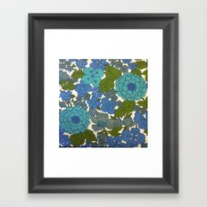 Retro floral sheet blues Framed Art Print