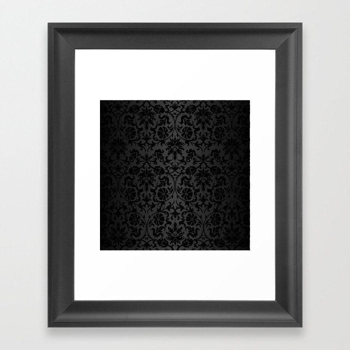 Black Damask Pattern Design Gerahmter Kunstdruck