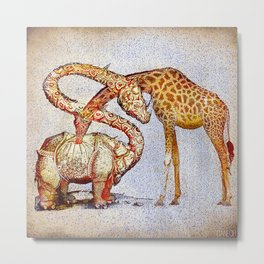 Improbable love (but sincere) of madam giraffe and sir rinohcérose Metal Print