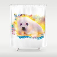 seal Shower Curtains featuring  curious seal by ururuty