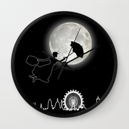 Magical Nanny Over London - neon light Wall Clock