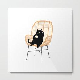 Lazy cat 2 enjoying coffee on rattan chair  Metal Print