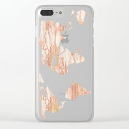 Marble Map Rose Gold Yellow Glittery World Clear iPhone Case