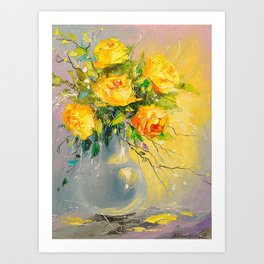 Bouquet of yellow roses Art Print