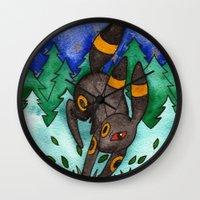 umbreon Wall Clocks featuring Eeveevolution Series - Umbreon by Jazmine Phillips