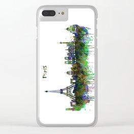 Paris Skyline watercolor Clear iPhone Case