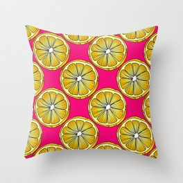 Lemon Slices Repeating Pattern on Pink Throw Pillow