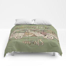 adventure awaits world map design Comforters