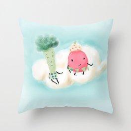 Mr. Broccoli & Ms. Strawberry  Throw Pillow