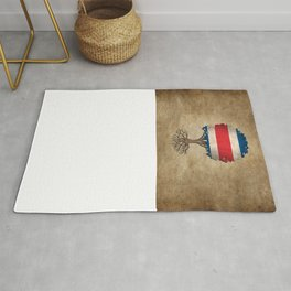 Vintage Tree of Life with Flag of Costa Rica Rug
