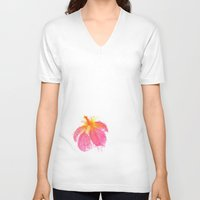 hibiscus V-neck T-shirts featuring Hibiscus by Grace Breyley