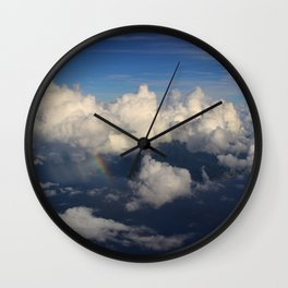 Caribbean welcome: rainbow over volcano Wall Clock