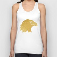 gold foil Tank Tops featuring Gold Foil Eagle by Mod Pop Deco