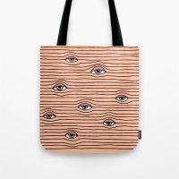 kenzo Tote Bags featuring PEEPING TOM by Wesley Bird
