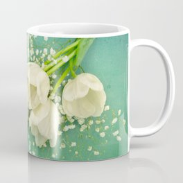 French White Tulips and Baby's Breath Flowers Bouquet Spring Botanical 2015 Coffee Mug