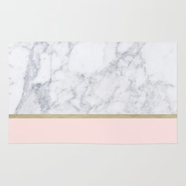 Marble Gold Blush Pink Pattern Rug