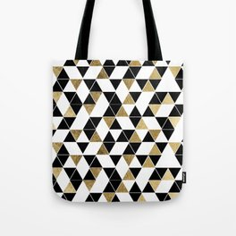 Modern Black, White, and Faux Gold Triangles Tote Bag