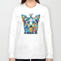 yorkie Long Sleeve T-shirts featuring Colorful Yorkie Dog Art - Yorkshire Terrier - By Sharon Cummings by Sharon Cummings