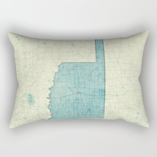 Oklahoma State Map Blue Vintage Rectangular Pillow