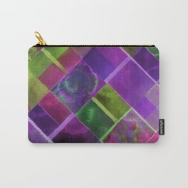 Geometric Watercolor Green and Purple Carry-All Pouch