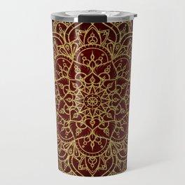 Deep Red & Gold Mandala Travel Mug