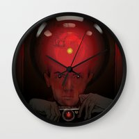 stanley kubrick Wall Clocks featuring Stanley Kubrick by Philipp Banken