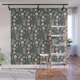 Blush pink and green floral pattern on dark background Wall Mural