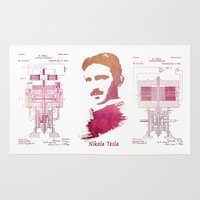tesla Area & Throw Rugs featuring Nikola Tesla - Apparatus for aerial transportation by jbjart