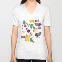 vegetables V-neck T-shirts featuring Root Vegetables by Lucilight