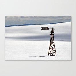 Windmill in Snowy Field Canvas Print
