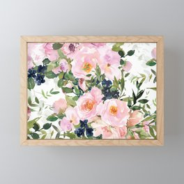 Festive, Floral Watercolor Rose Garden, Pink and White Framed Mini Art Print