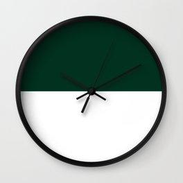 White and Deep Green Horizontal Halves Wall Clock