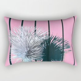 Yucca Plant in Front of Striped Pink Wall Rectangular Pillow