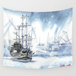 Harbour in Gdynia Wall Tapestry