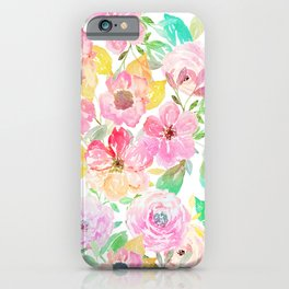 Classy watercolor hand paint floral design iPhone Case