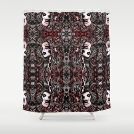 Baroque Head_Red Shower Curtain