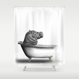Hippo in Bath Shower Curtain