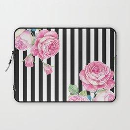 Black white blush pink watercolor floral stripes Laptop Sleeve