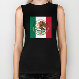 Flag of Mexico with Coat of Arms (augmented scale) Biker Tank