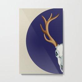 Chamanic blue deer skull - best profile Metal Print
