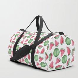 Watermelon Pattern, White Background Duffle Bag