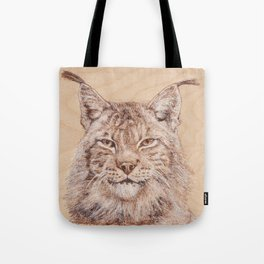Lynx Portrait - Drawing by Burning on Wood - Pyrography Art Tote Bag