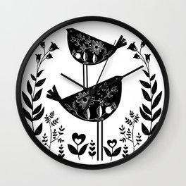 Danish Birds Of Good Luck And Good Life Wall Clock